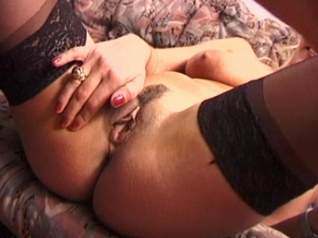 Stockinged Wifey With Screwable Boobs Kneading Her Tasty Vagina